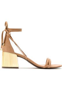 Schutz Sandália Com Tiras Salto Metalizado - Neutro