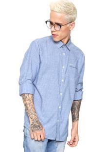 Camisa Coca-Cola Jeans Listrada Azul/Branca