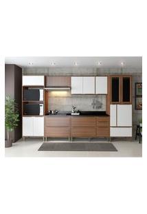 Cozinha Modulada Multimóveis 5450 Calábria 7 Peças Nogueira/Branco