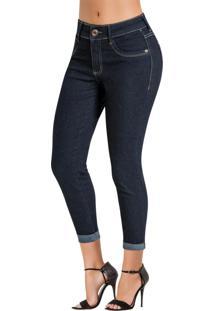 Calça Jeans Sawary Azul Escura Modelo Cropped