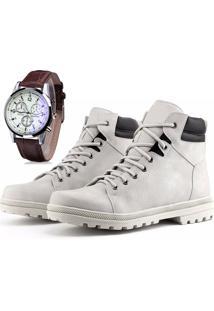 Bota Coturno Com Relógio Juilli Adventure Social Ref.02M Branco
