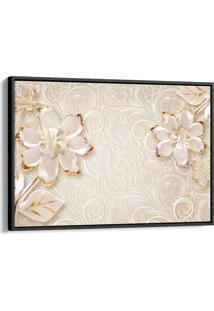 Quadro 60X90Cm Abstrato Flores Douradas E Brancas Fundo Bege Canvas Moldura Flutuante Preta