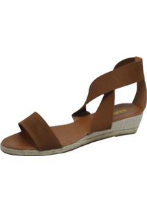 Sandália Anabela S2 Shoes Elástico Caramelo