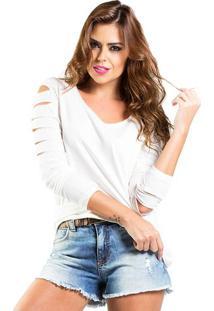 Blusa T-Shirt Efeito Rasgado Lado Basic