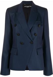Stella Mccartney Blazer Com Abotoamento Duplo De Lã - Azul