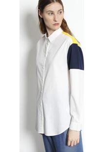 Camisa Com Seda & Recortes- Off White & Azul Marinholacoste