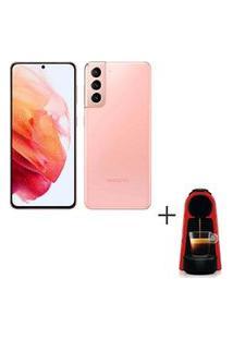 Samsung Galaxy S21 Rosa, Tela 6,2, 5G, 128Gb -Sm-G991Bzijzto + Cafeteira Nespresso Essenza Mini Vermelho 110V - C30-Br