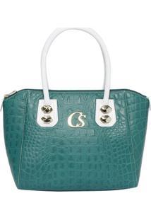 Bolsa Em Couro Com Tag- Verde & Branca- 27X38X18Cmcarmen Steffens