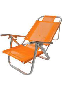 Cadeira De Praia Reclinável Botafogo Cad0400 Copacabana Laranja