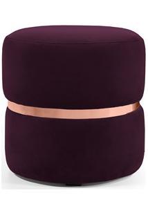 Puff Decorativo Com Cinto Rosê Round B-292 Veludo Uva - Domi