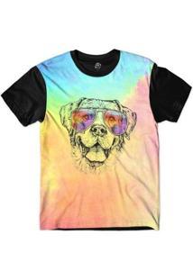 Camiseta Bsc Animais Hipster Labrador Sublimada Masculina - Masculino-Rosa