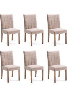 Conjunto Com 6 Cadeiras De Jantar Mara Marrom Claro E Imbuia