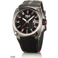 d277c8ff9ce Relógio Pulso Everlast Caixa Aço E Pulseira Couro E132 - Masculino-Preto