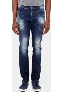 Calça Jeans Skinny Zune Desfiada Respingos Masculina - Masculino-Jeans