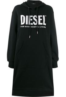 Diesel Vestido Moletom Com Estampa De Logo - Preto