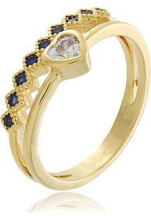 Anel Meia Aliança Com Zircônias Azuis Marinhas E Pingente De Coração Com Zircônias Cristal Em Banho De Ouro 18K 14