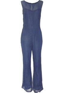 Macacão Infinity Fashion Longo Renda Azul Marinho - Kanui