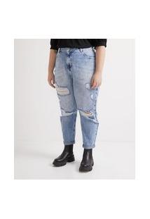 Calça Jeans Mom Com Puídos E Tachinhas Curve & Plus Size
