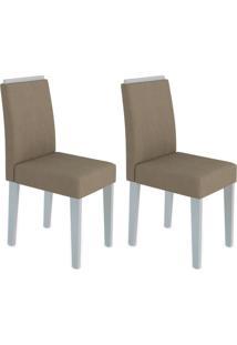 Conjunto Com 2 Cadeiras Ana Off White E Marrom