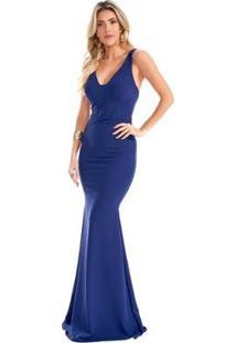 Vestido Lala Dubi Longo Sereia Scuba Crepe Feminino - Feminino-Azul Escuro