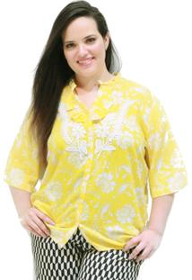 Camisa Grega Aplicação Plus Size Vickttoria Vick Plus Size Amarelo