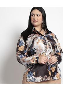 Camisa Floral Acetinada- Preta & Branca- Pianetapianeta