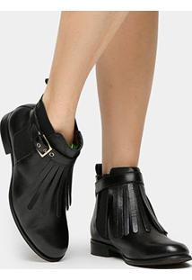 Bota Couro Cano Curto Shoestock Franjas Feminina - Feminino-Preto