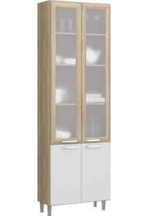 Paneleiro 4 Portas E Vidro Toscana Argila E Branco-Texturizado Multimóveis