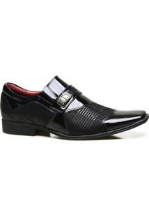 Sapato Social Couro Calvest Com Textura Em Verniz Masculino - Masculino-Preto