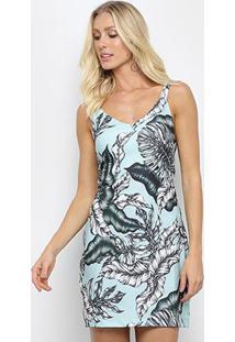 Vestido Sommer Tubinho Curto Tropical Floral Decote Costas - Feminino-Musgo+Vermelho