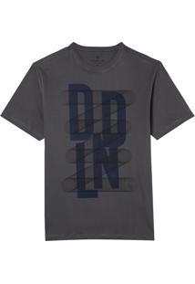 Camiseta Dudalina Manga Curta Estampa Malha Masculina (Cinza Medio, G)