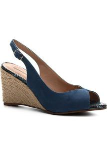 Peep Toe Shoestock Slingback Anabela Nobuck - Feminino-Azul