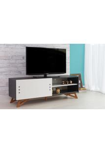 Rack Tv Preto Moderno Vintage Retrô Com Porta De Correr Branca Freddie - 140X43,6X48,5 Cm