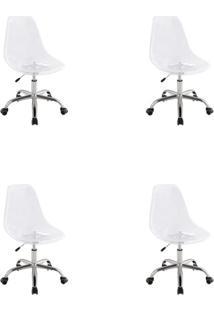 Conjunto Com 4 Cadeiras De Escritório Secretária Giratórias Eames Transparente