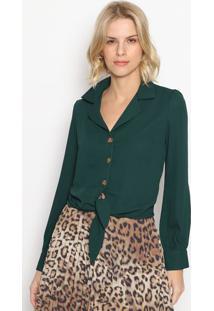 Camisa Lisa Com Amarraã§Ã£O- Verde Escuro- Melaninamelanina