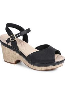 Sandália Salto Conforto Modare Trama Preto