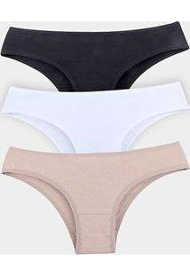 Kit Calcinha Elegance Cotton 3 Peças - Feminino