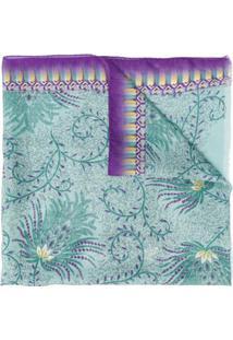Etro Lenço De Seda Com Estampa Floral - Azul