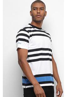 Camiseta Aleatory Fio Tinto Listras Masculina - Masculino-Preto+Branco