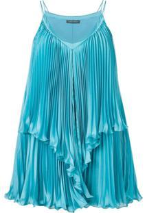 Alberta Ferretti Vestido Com Pregas - Azul