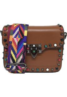 Bolsa Casual Transversal Alça Colorida Sys Fashion 830302 Marrom