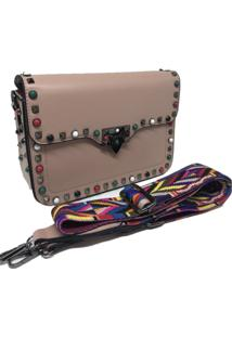 Bolsa Importada Transversal Alça Colorida Sys Fashion 8304 Rosa