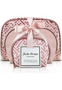 Kit De 3 Necessaires Rosa - Jacki Design