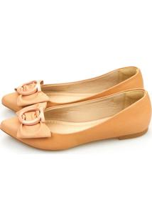 Sapatilha Love Shoes Bico Fino Laço Fivela Nude