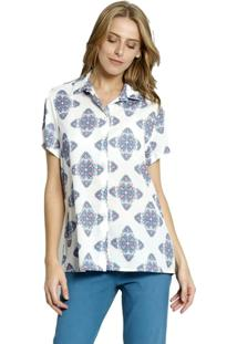 Camisa Manga Curta Moché Feminina - Feminino-Off White+Azul