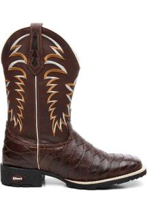 Bota Texana Crazy Horse Cafe Escamada - Masculino-Marrom