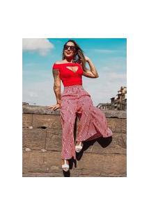 Calça Miss Misses Pantalona Listrada Vermelho E Branco