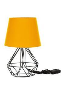 Abajur Diamante Dome Amarelo Com Aramado Preto