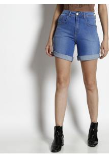 Bermuda Jeans Com Bolsos - Azulforum