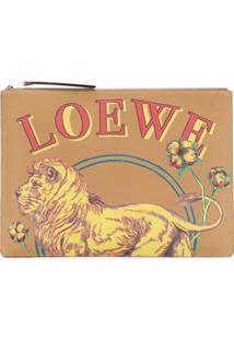 Loewe Large Lion Pouch - Marrom